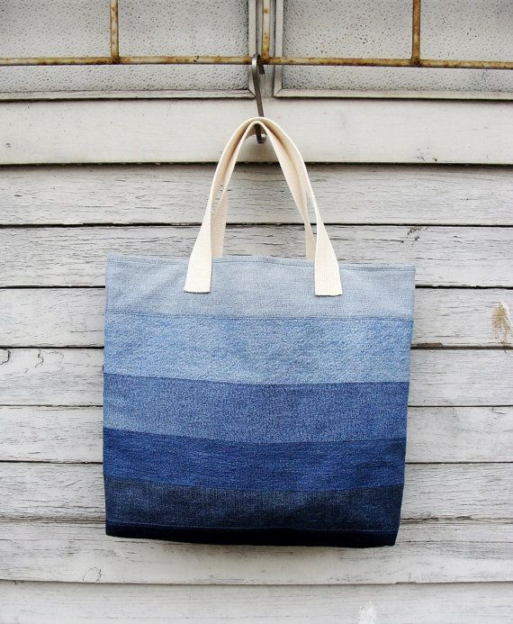 Denim Tote Bag 2  upcycled vegan bag jeans bag by Nudakillers