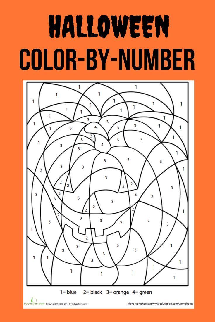 Halloween Color By Number Worksheet Education Com Halloween Activities Preschool Halloween Math Halloween Coloring [ 1102 x 735 Pixel ]