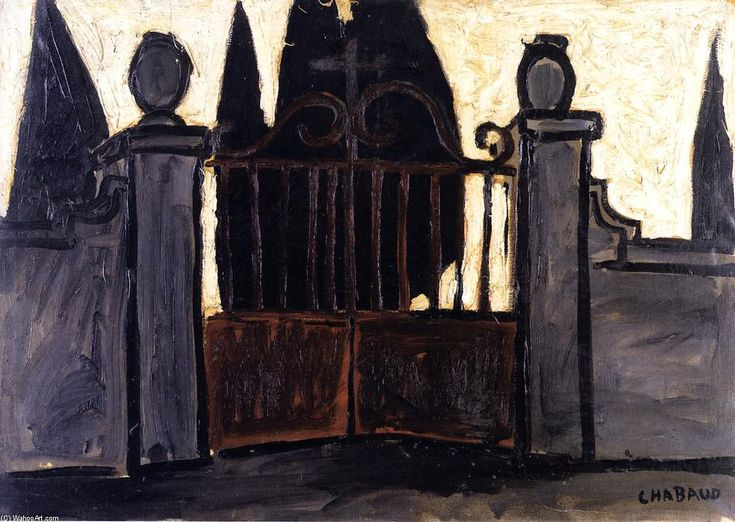 """Cemetery Gate"", Oil On Panel by Auguste Chabaud (1882-1955, France)"