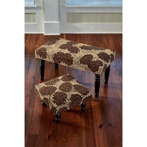 Fabric Foot Stool or Bench with Dark Brown Autumn Leaf Motif