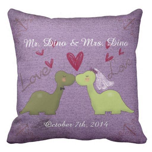Dinosaur Wedding Throw Pillow