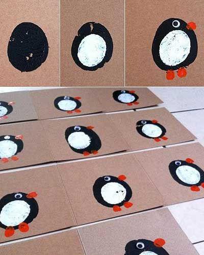 Easy DIY Holiday Crafts - Potato Print Blackbirds - Click pic for 25 Handmade Christmas Cards Ideas for Kids