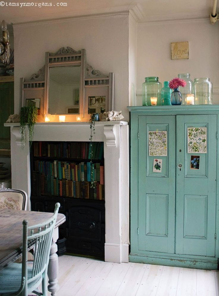 A Corner Of My Dining Room...an eclectic mix of vintage finds and painted furniture. #paintedfurniture #vintagehome