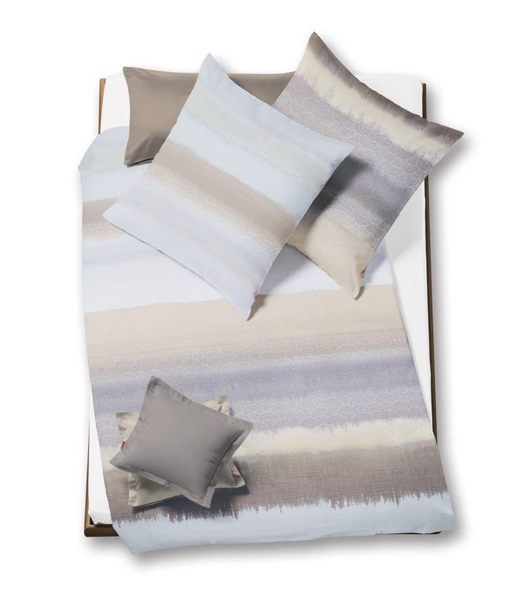 Baumwolle Bettwäsche FLEURESSE Modern Life Residence silber Mako Satin - Pflegeleicht