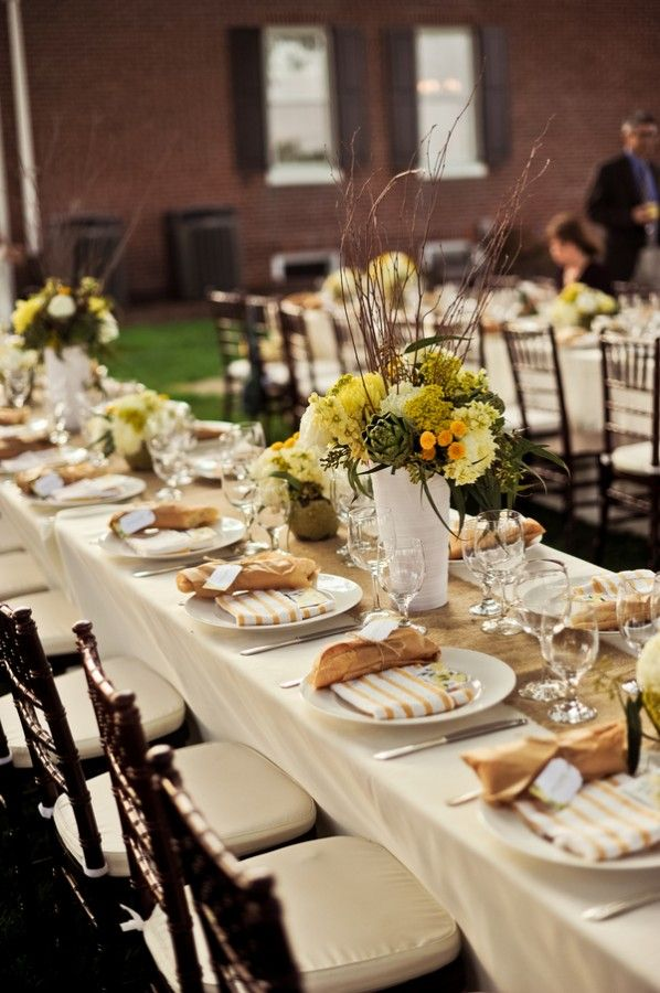 Natural Yellow Tablescape. Chapel WeddingParty WeddingNaval  AcademyBeautiful Table SettingsTuscan ...