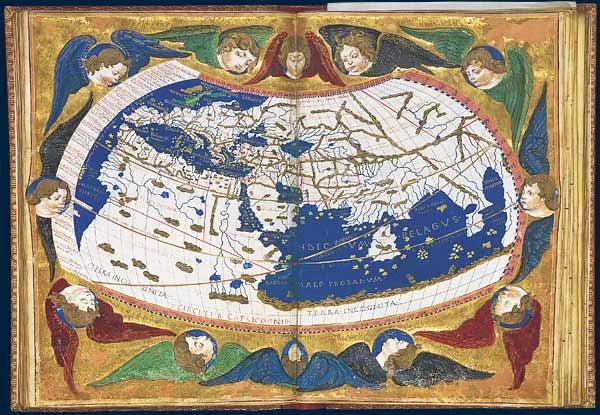 Mappemonde en projection conique  Claude Ptolémée, Cosmographia. Traduction latine de Jacopo d'Angelo. Florence, vers 1465-1470. Manuscrit sur parchemin (43 x 63 cm). BnF, Manuscrits (Latin 4805 fol. 76v-77)