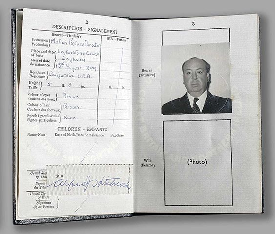 Famous Peoples Passports: Alfred Hitchcock - not just a director, a motion picture director