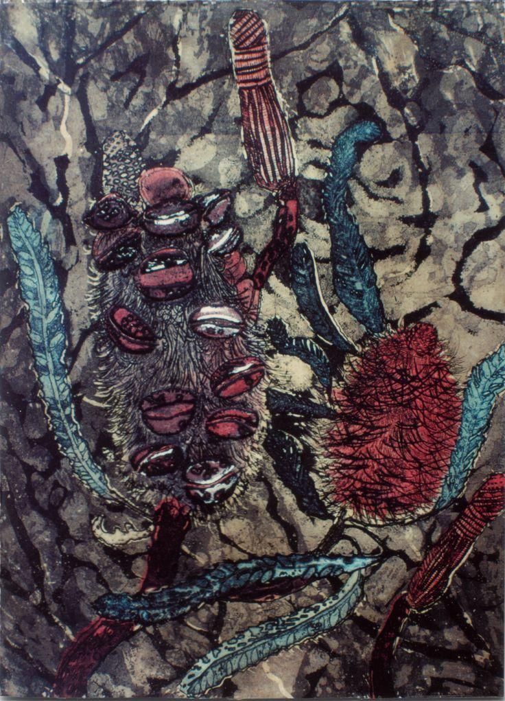 Banksia Scrub © Colour printed etching  by Abbie Heathcote