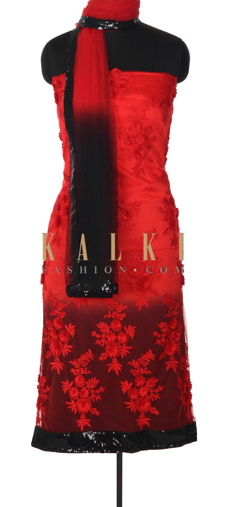 Buy this Red and black unstitched suit in resham embroidery only on Kalki