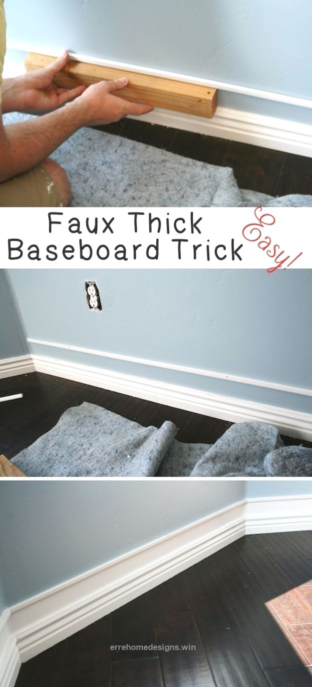 Great DIY Home Improvement On A Budget – Faux Thick Baseboard – Easy and Cheap Do It Yourself Tutorials for Updating and Renovating Your House – Home Decor Tips and Tricks, ..