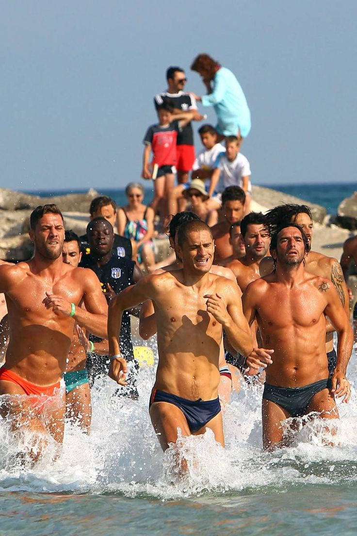 Male Gaze: An Italian Soccer Team Running in Speedos