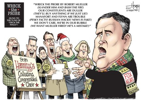 Political cartoon U.S. Fox News Sean Hannity Russia probe Mueller Christmas