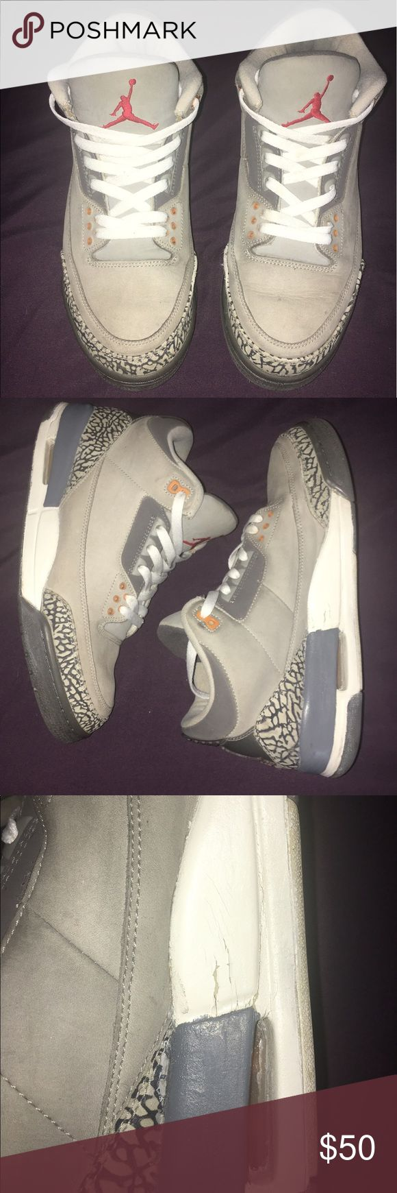 Retro Jordan 3 sneakers Retro Jordan 3's. Used but good condition. Flaws shown in picture. Jordan Shoes Sneakers