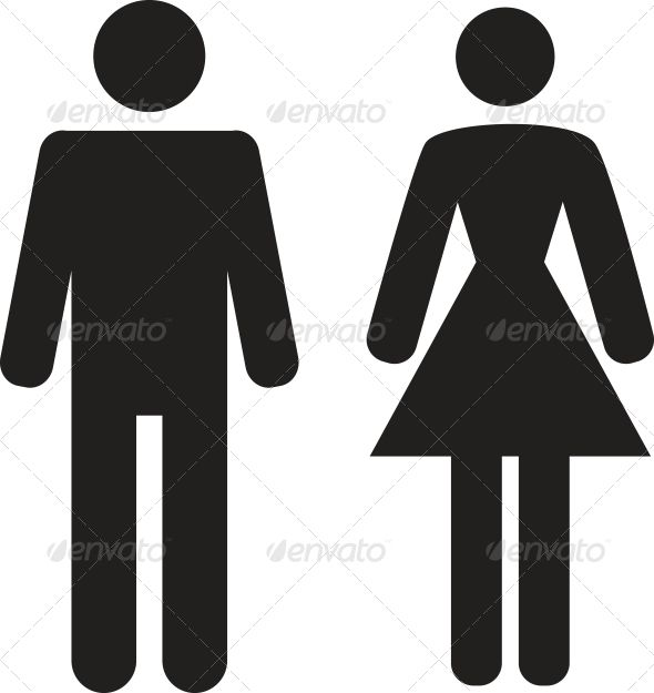 Vector Man And Woman Icon On White Background Bathroom Signsbathroom