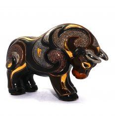 Toro Negro esculpido y pintado a mano, con acabados de oro de 18 Kt y platino. Un regalo perfecto! De www.ekleipsis.com