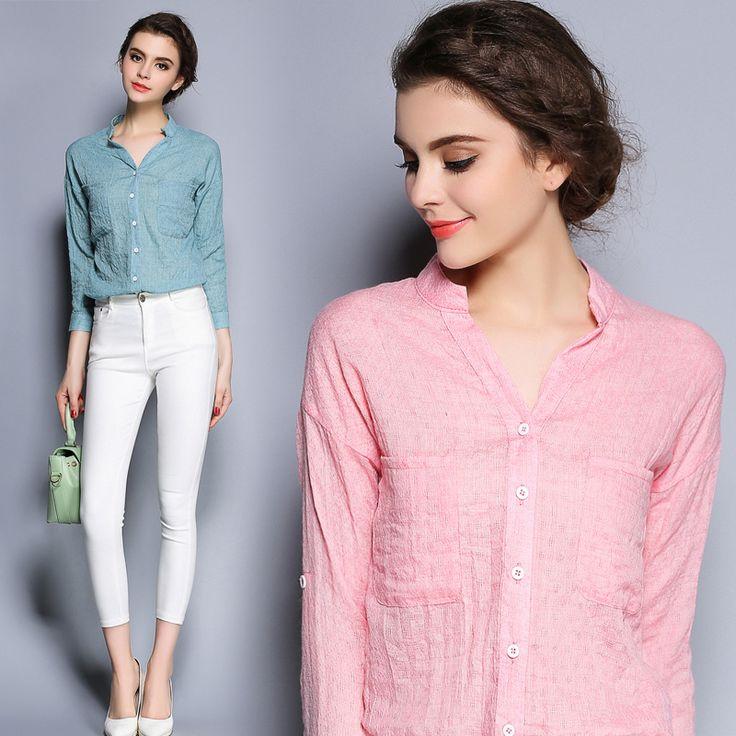 Autumn Spring Solid White Cotton OL Long Sleeve Shirts Women V-neck  Blouse Blusas Casual Plus Size Linen