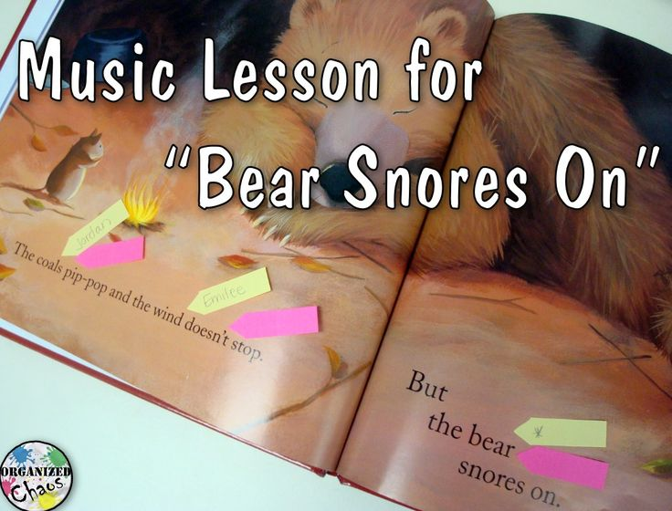 "Organized Chaos: Teacher Tuesday: music lesson for ""Bear Snores On"". Such a cute book for lower elementary/ kindergarten! Great for introducing timbre, sound sources, found sound, instrument names etc. by adding sound effects to the story."