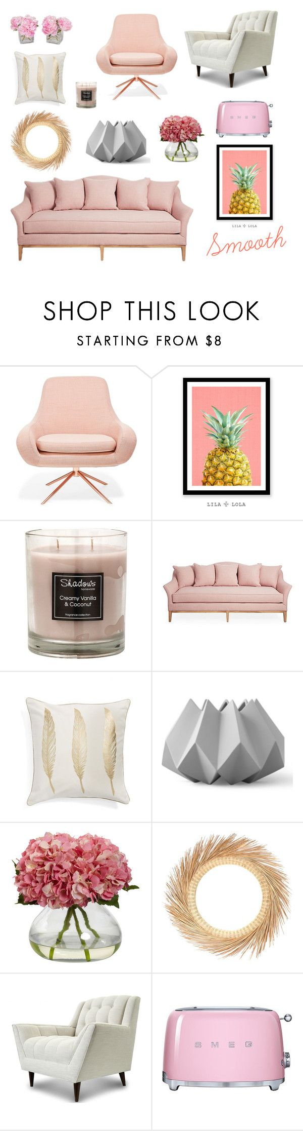 """Soft Pink and Gold Living Room"" by dpintainha on Polyvore featuring interior, interiors, interior design, home, home decor, interior decorating, Softline, Levtex, Menu and Thrive"