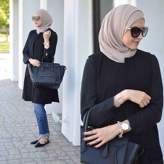 Hijab Fashion 2016/2017: leena asad black tunic Street styles hijab looks www.justtrendygir