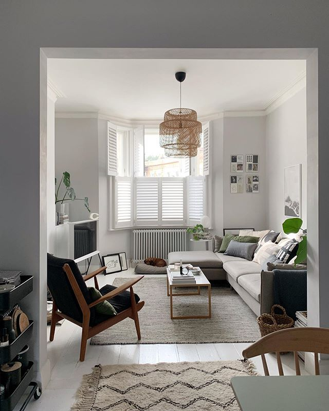 Light Open Plan Living Room With Grey Corner Sofa Farrow Ball Blackened Walls Mid Centu White Painted Floors Open Plan Living Room Corner Sofa Living Room