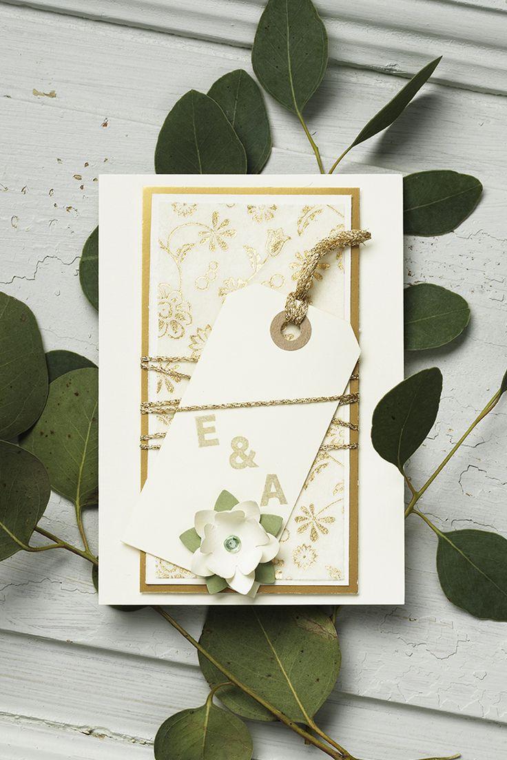 Wedding card www.panduro.se #DIY #green #gold #plants #flowers