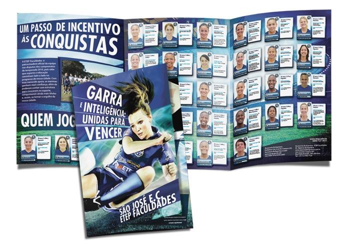 Folder criado para a Etep Faculdades – patrocinadora da equipe feminina de futebol do São José.