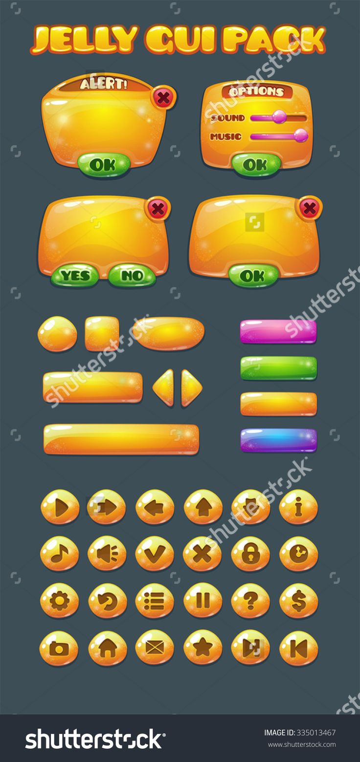 Yellow jelly game user interface pack, vector GUI elements kit