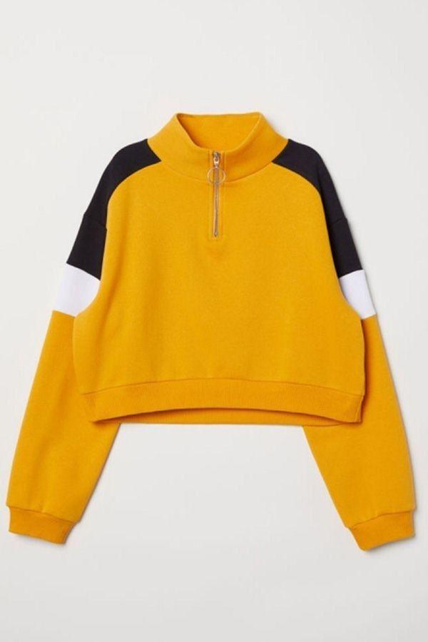 26240dcaa9f Yellow Color Block Half-zip Placket Casual Short Sweatshirt  050036    Hoodies   Sweatshirts For Women-Black Sweatshirt