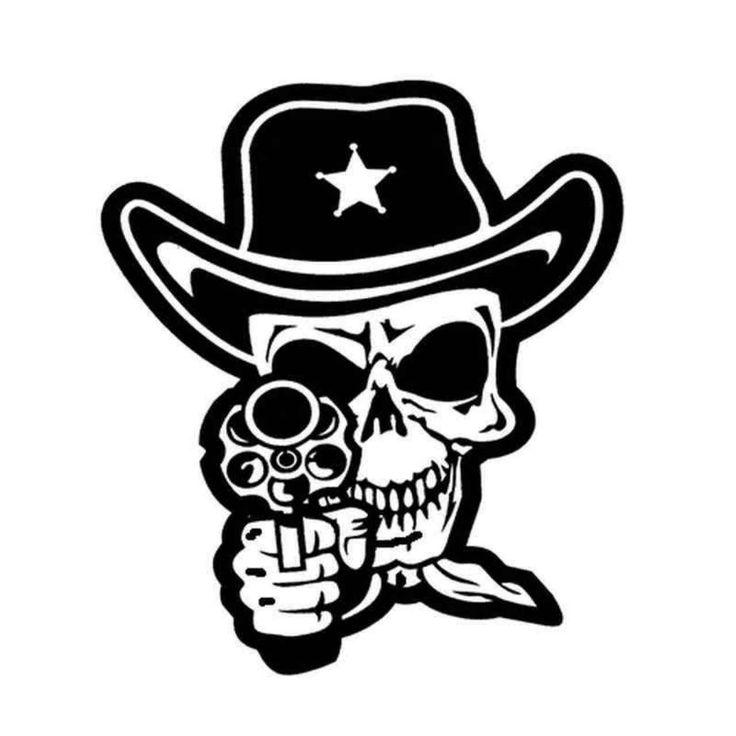 Sticker autocollant Skull Cowboy 343 BallzBeatz. com   – wood burn