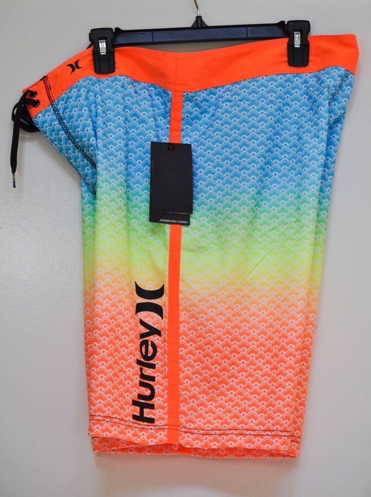 HURLEY MEN BOARD SHORTS SCALLOPS SWIM TRUNK SWIMSUIT Gradient Colored size 36 #Hurley #BoardShorts