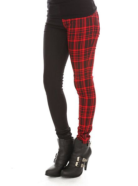 hot topic pants | ... Plaid Split Leg Skinny Jeans SKU : 709503 HOTTOPIC EXCLUSIVE $34.50