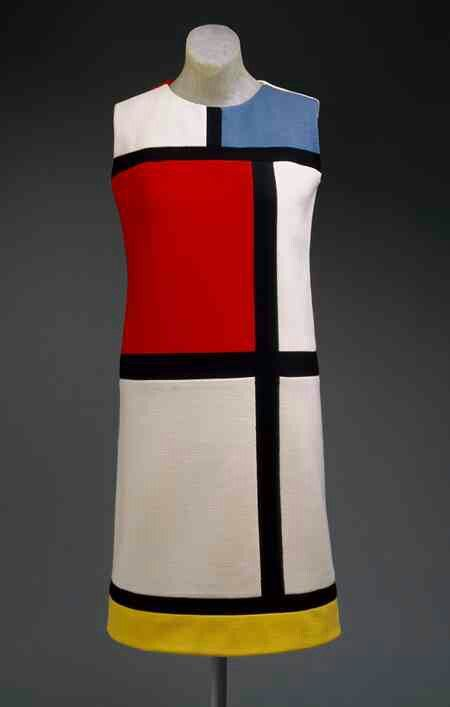 Piet mondrian dress: One of the most famous dresses in fashion. Inspired by Mondrian's pieces of art. This was a whole collection in 1965.