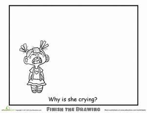 ANTICOLORIAGE Second Grade People Worksheets: Finish the Drawing: Why is she Crying?