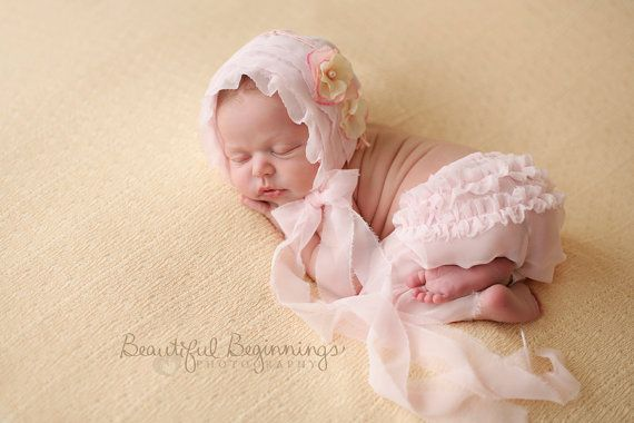 Newborn bonnet pants set baby pink chiffon hat and pants set newborn baby bonnet newborn photography prop uk seller