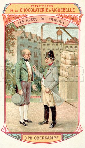 Napoleon awarding the Legion d'Honneur to French industrialist Christophe-Philippe Oberkampf, 1806. French educational card, late 19th or early 20th century.