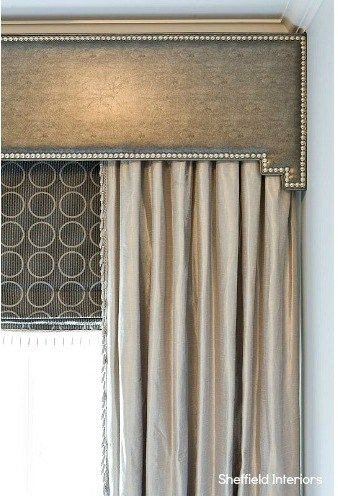 This nail head cornice board is divine!  I love it pared with the coordinating roman shades.