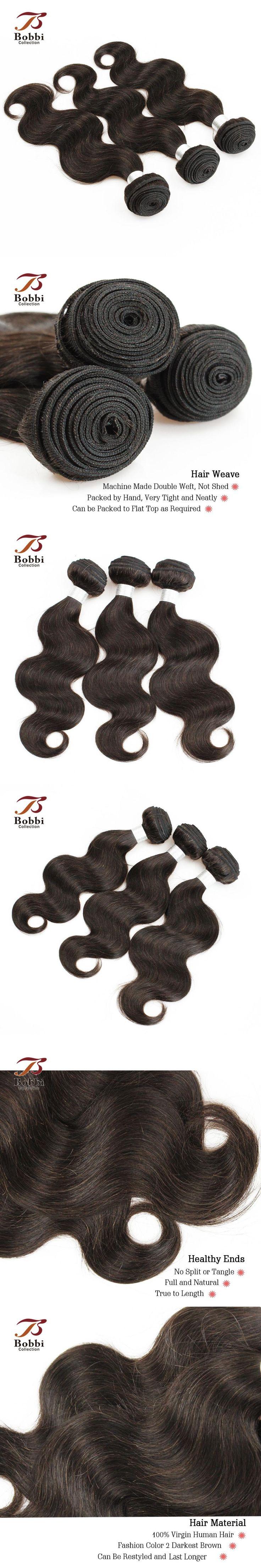 Brazilian Body Wave Hair Weave 3 Bundles Darkest Brown Color 2 Brazilian Human Hair Weft Extension Bobbi Collection