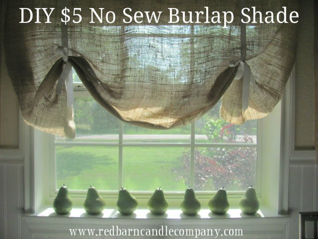 No Sew Burlap Roman Window Shade Cheap Curtain For The Kitchen