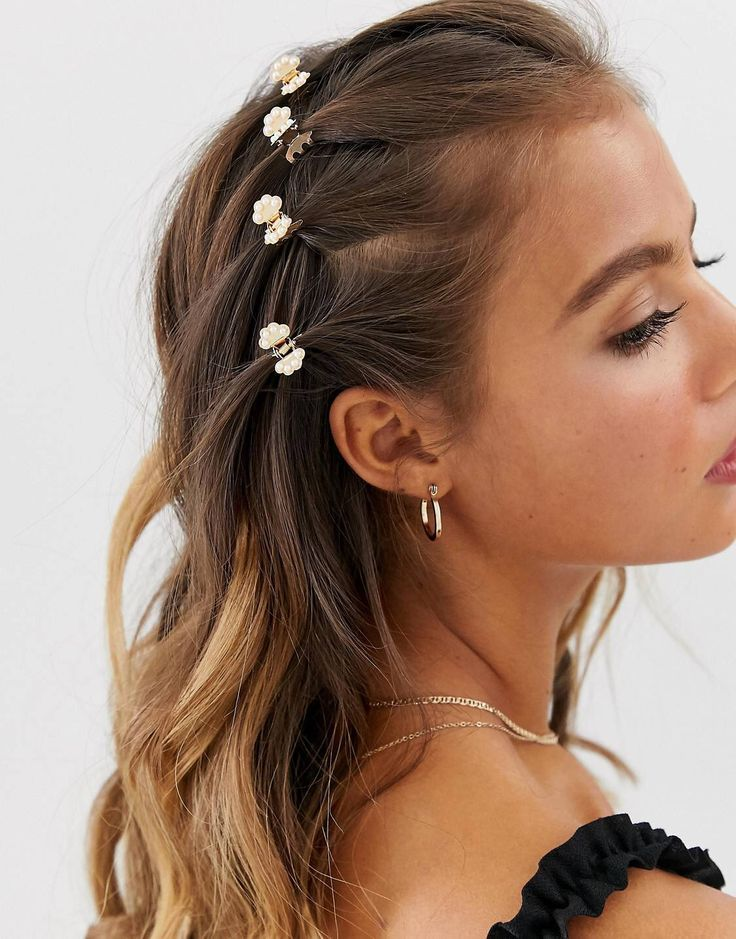 Butterfly Hair Claws With Pearl Detail In Gold Tone Asos Clip Hairstyles Hair Styles Hair Claw