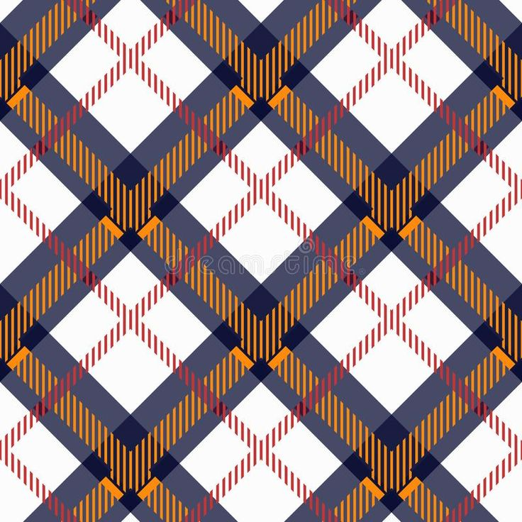 Plaid check pattern in orange, blue, red, black and white