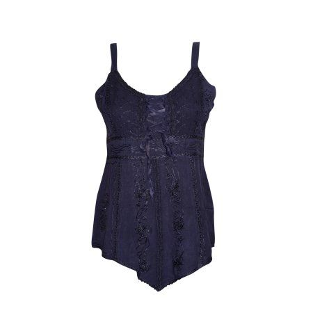 Mogul Women's Comfortable Style Cami Tank Navy Blue Embroidered Scoop Neck Blouse Top S  https://www.walmart.com/search/?grid=true&query=mogul+interior+blouse#searchProductResult