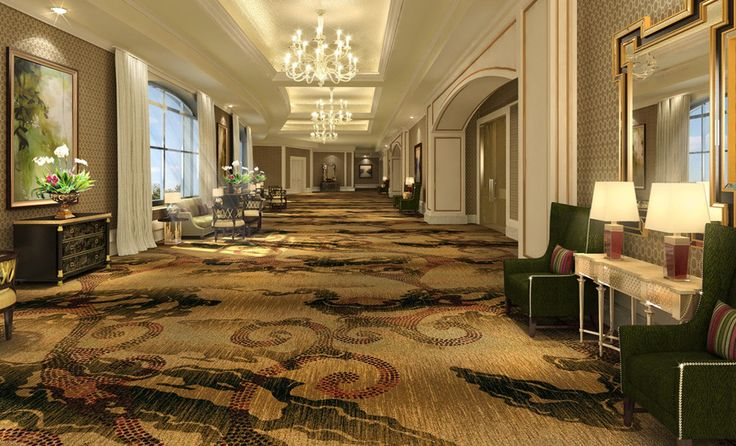 Hotel corridor and reception hall