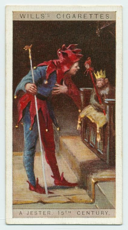 Image Title:  A jester, 15th century.  Item/Page/Plate: 7  Standard Reference: Cartophilic reference books W62-130-1  Source: [Cigarette cards.] / English period costumes  Location: Stephen A. Schwarzman Building / George Arents Collection  Catalog Call Number: Arents Cigarette Cards 704  Digital ID: 1527759  Record ID: 815850  Digital Item Published: 8-2-2006; updated 3-25-2011