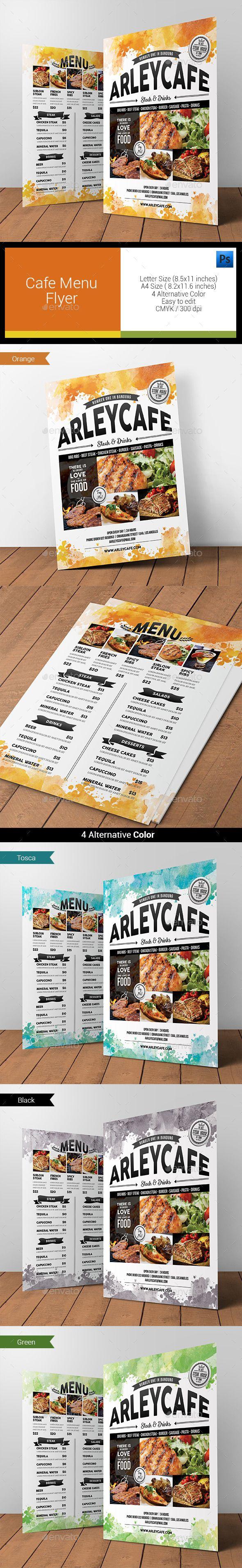 Watercolor Cafe Menu Flyer