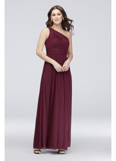 b2b73eaa0d0 Micro-Pleated Mesh One-Shoulder Bridesmaid Dress W60042