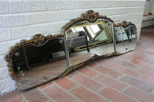 Antique Etched Gesso Triple Panel Buffet Mirror Buffet