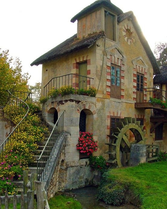 .: Water Wheels, Waterwheel, The Queen, Versail France, House, Mary Antoinette, French Cottages, Little Cottages, Fairies Tales