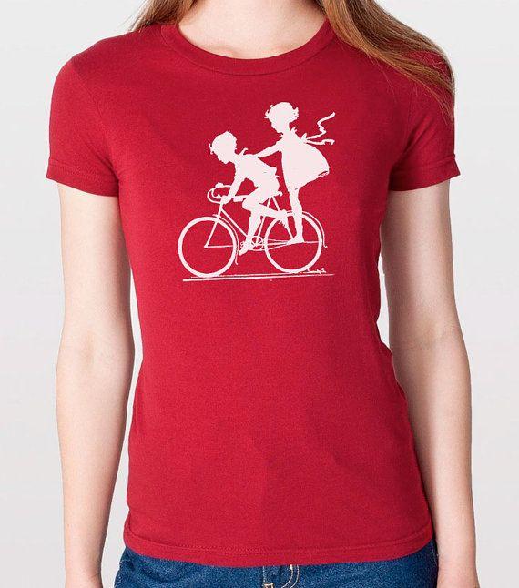 Womens Vintage Graphic Children Biking Tshirt  Cool by ebollo, $17.95