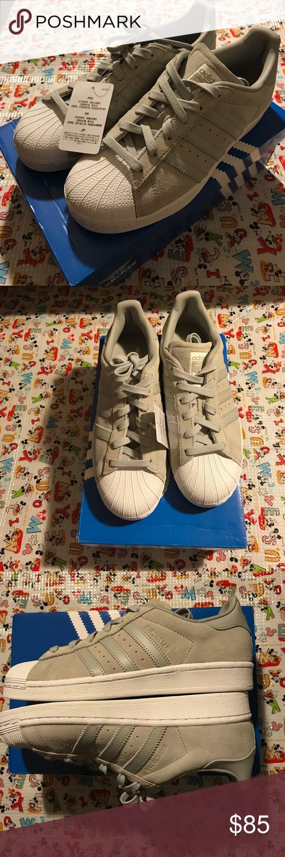 Adidas Superstar gray suede sneakers Brand new adidas superstar adidas Shoes Sneakers