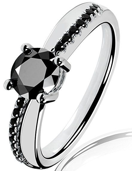 Lars Benz LUXUS Damen-Ring Verlobungsring Swarovski Zirkonia 1,4 Karat 6mm schwarz Sterling-Silber 925 Zertifikat Solitärring Antragsring Vorsteckring Silberring klassisch ORIGINAL 48-mm